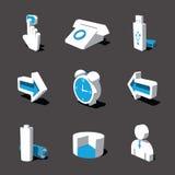 Blauw-witte 3D pictogramreeks 03 Stock Foto