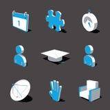 Blauw-witte 3D pictogramreeks 05 Royalty-vrije Stock Fotografie