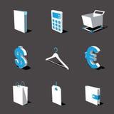 Blauw-witte 3D pictogramreeks 06 Stock Foto
