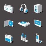 Blauw-witte 3D pictogramreeks 07 Stock Foto