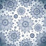 Blauw zonnebloempatroon Stock Foto