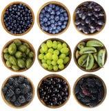 Blauw-zwart en groen voedsel Bessen en vruchten op witte achtergrond worden geïsoleerd die Collage van verschillende vruchten en  Royalty-vrije Stock Foto