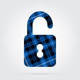 Blauw, zwart geruit Schots wollen stof geïsoleerd pictogram - open hangslot Stock Afbeeldingen