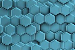 Blauwachtige backgound met zeshoeken Stock Foto's