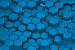 Blauwachtige bouw van architecturale zeshoeken Stock Afbeeldingen