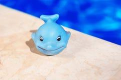 Blauwalspielzeug nahe dem Pool Stockbild