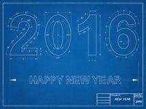 2016 Blauwdruk vector illustratie