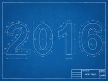 Blauwdruk 2016 Royalty-vrije Stock Afbeelding