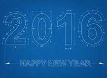2016 - Blauwdruk Royalty-vrije Stock Afbeeldingen