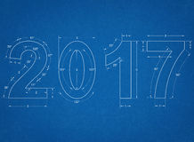 2017 - Blauwdruk royalty-vrije stock foto