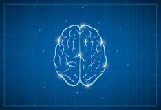 Blauwdruk Brain Symbol vector illustratie