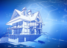 Blauwdruk 3d huis & plan Stock Afbeeldingen