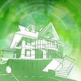 Blauwdruk 3d huis, plan & groene bokeh Stock Foto