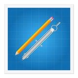 Blauwdruk en heersersinstrumenten Stock Afbeelding