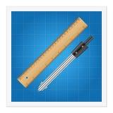 Blauwdruk en heersersinstrumenten Stock Fotografie