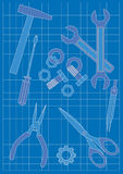 Blauwdruk en Hulpmiddelen Stock Afbeelding