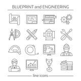 Blauwdruk en Techniek Lineaire Geplaatste Pictogrammen stock illustratie