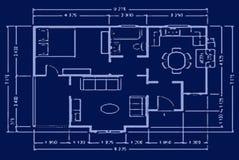 Blauwdruk - huisplan Royalty-vrije Stock Foto's