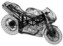 """Blauwdruk motorfiets†""""3D perspectief stock illustratie"""