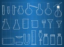 Blauwdruk van chemische laboratoriumapparatuur Royalty-vrije Stock Fotografie