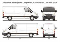 Blauwdruk van de het Dakbestelwagen 2010 van Mercedes Sprinter Cargo Delivery MWB de Lage Stock Afbeeldingen