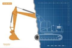 Blauwdruk van graafwerktuig op witte achtergrond Hoogste, zij en vooraanzicht Diesel graver Hydraulisch machinesbeeld stock illustratie