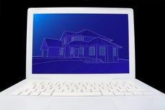 Blauwdruk van huis op computer royalty-vrije stock afbeelding