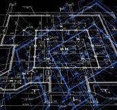 De abstracte donkere achtergrond van de blauwdruk. Vector Royalty-vrije Stock Afbeeldingen