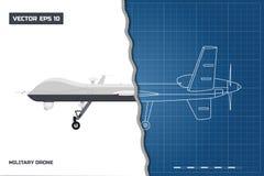 Blauwdruk van militaire hommel in overzichtsstijl Zachte nadruk Legervliegtuigen voor intelligentie en aanval stock illustratie