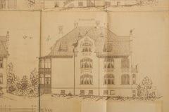 Blauwdruk van modern huis Stock Illustratie