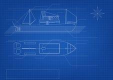 Blauwdruk van vrachtschip op blauwe achtergrond royalty-vrije illustratie