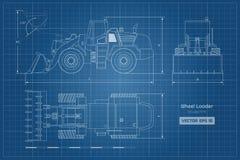 Blauwdruk van wiellader Hoogste, zij en vooraanzicht Diesel graver Hydraulisch machinesbeeld Industrieel document stock illustratie