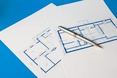 Blauwdruk voor een huis Stock Afbeeldingen