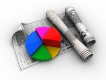 Blauwdrukken en cirkeldiagram Stock Fotografie