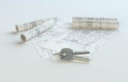 Blauwdrukken met sleutels, exemplaarruimte voor uw inhoud Stock Afbeelding