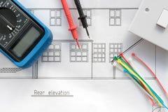 Blauwdrukplannen en elektropunten Royalty-vrije Stock Foto