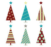 Blauwe â rode het pictogramreeks van de Kerstmisboom stock illustratie
