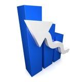 Blauwe 3D grafiek met witte pijl Stock Foto