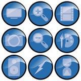 Blauwe 3d Pictogrammen Stock Afbeeldingen