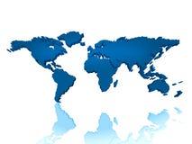 Blauwe 3d wereldkaart Stock Foto's