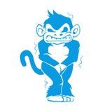 Blauwe aap met een koude Royalty-vrije Stock Afbeeldingen