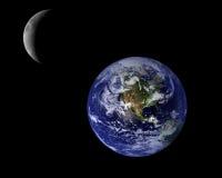 Blauwe Aarde en Halve maan Stock Foto