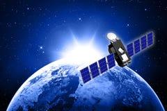 Blauwe aarde en satelliet Royalty-vrije Stock Foto