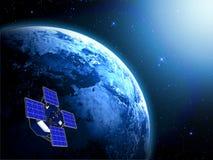 Blauwe aarde en satelliet in ruimte royalty-vrije illustratie