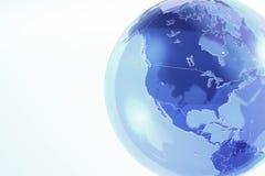 Blauwe aardebol die van glas wordt gemaakt Royalty-vrije Stock Afbeeldingen