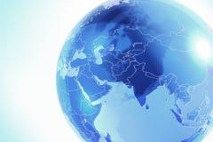 Blauwe aardebol die van glas wordt gemaakt Royalty-vrije Stock Afbeelding