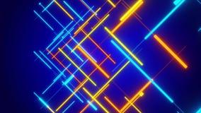 Blauwe abstracte achtergrond, bewegende blauwe en gouden lijn stock illustratie