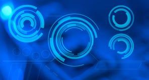 Blauwe abstracte achtergrond en het futuristische HUD-aanrakingsscherm Stock Foto's