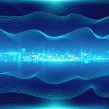Blauwe abstracte achtergrond met golven en deeltjes Royalty-vrije Stock Afbeelding