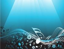 Blauwe abstracte achtergrond met muzieknota's royalty-vrije stock fotografie